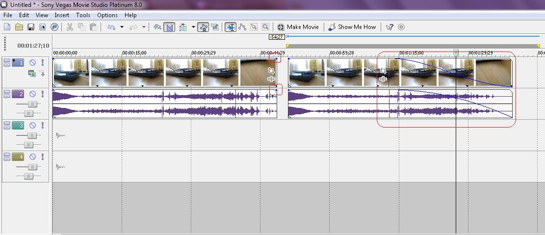 Как сделать затухание звука в vegas
